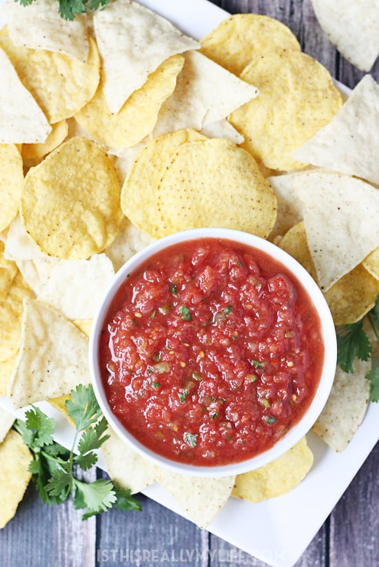 Copycat Chilis Salsa -- After comparing other copycat Chilis salsa recipes and making a few tweaks, this version is by far the closest to the original...and extremely addictive.