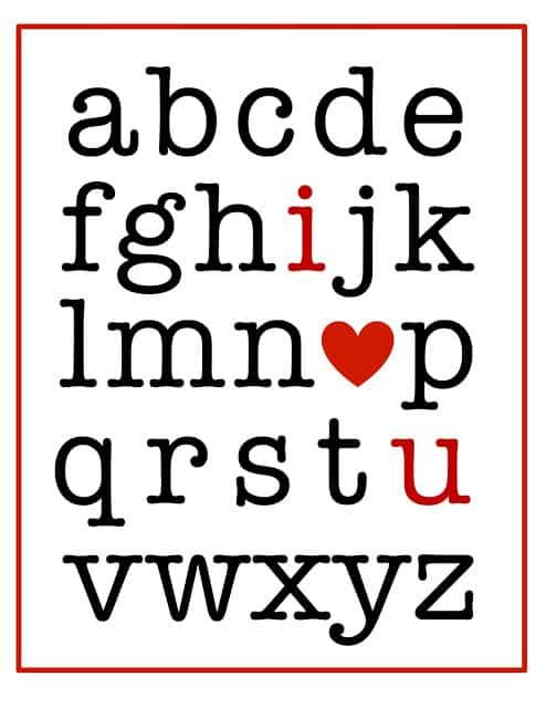 Valentines alphabet printable