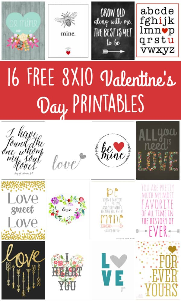 16 Free 8x10 Valentines Printables - These love-ly free 8x10 Valentines Day printables are the perfect way to decorate your home and spread the love this Valentines Day. | halfscratched.com