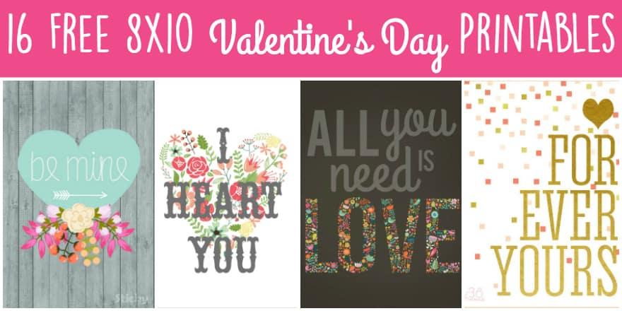 16 Free 8x10 Valentines Printables