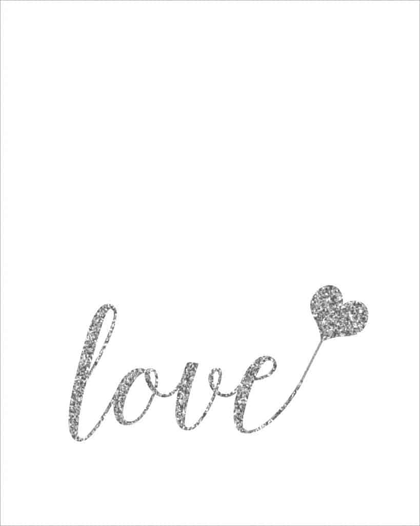 Silver love printable