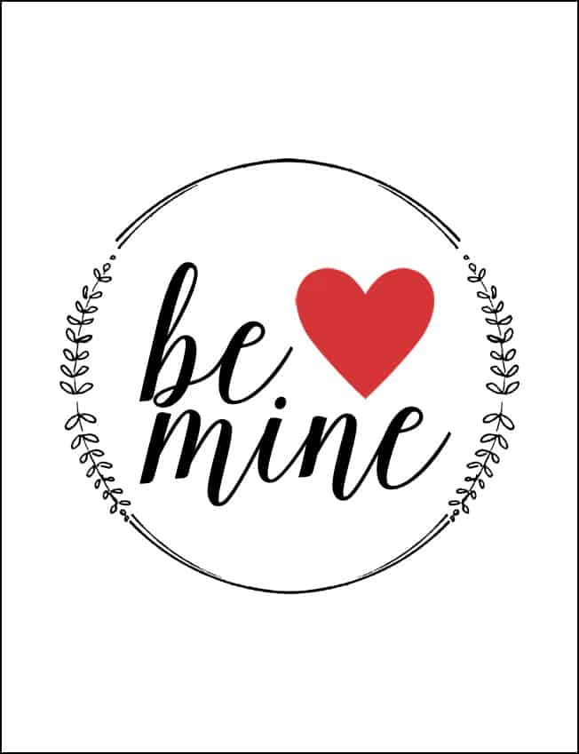 Free Be Mine printable valentine