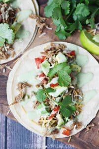 Pressure Cooker Cafe Rio Pork Tacos -- I took our favorite slow cooker Cafe Rio pork and converted it into an equally scrumptious pressure cooker Cafe Rio pork. Do not forget the creamy cilantro dressing! | halfscratched.com