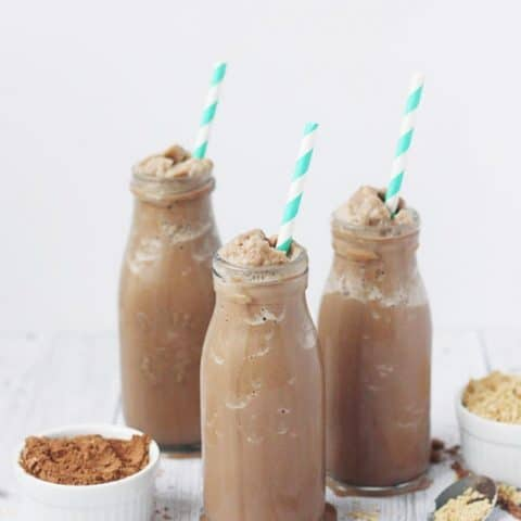 Protein-Packed Low-Carb Chocolate Peanut Butter Smoothie -- This chocolaty, peanut-buttery, protein-packed smoothie is low carb thanks to unsweetened almond milk, cocoa powder and no-calorie sweetener. | halfscratched.com