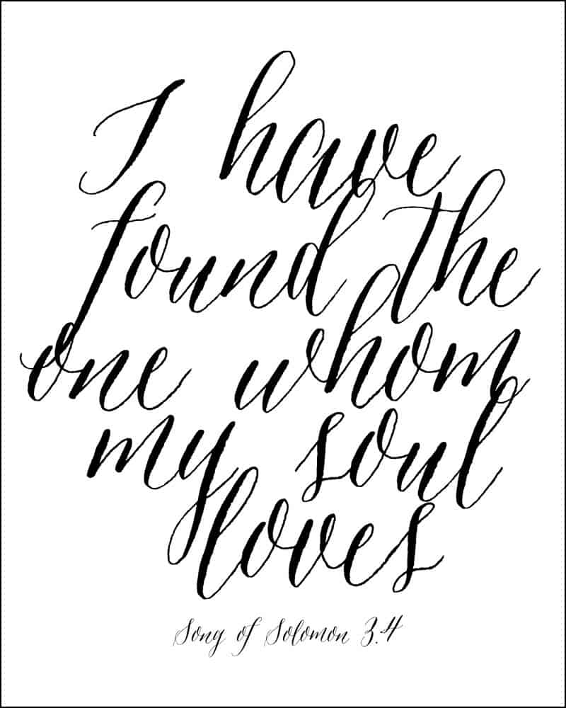 Song of Solomon free Valentines printable