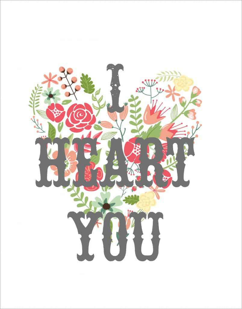 I Heart You printable