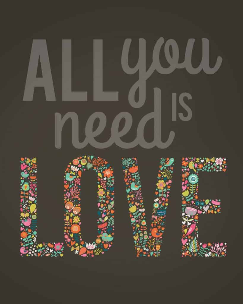 All You Need Is Love free Valentines Day printable