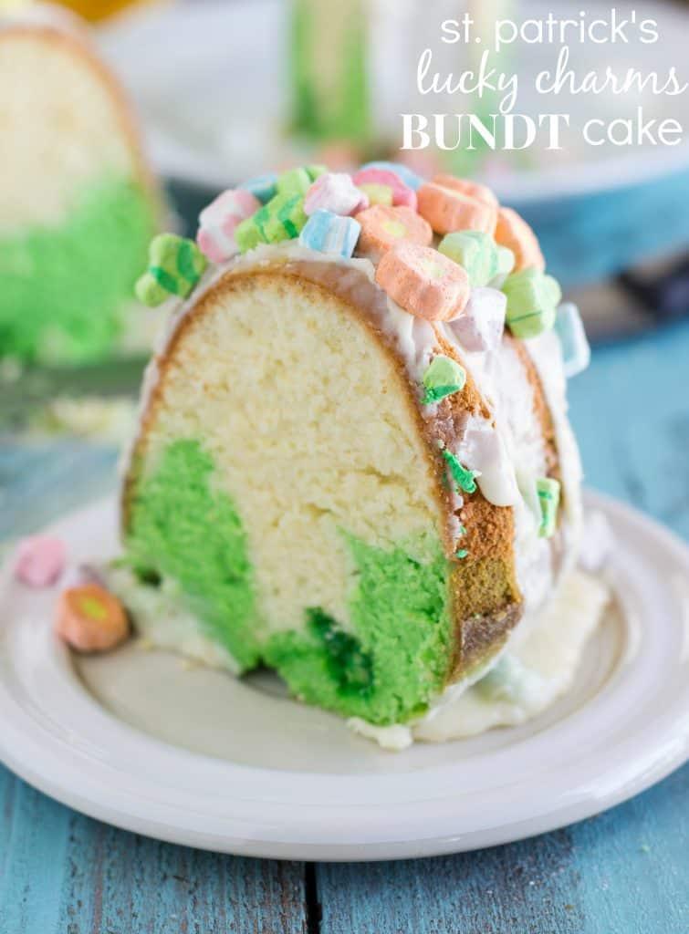 St Patricks Day Lucky Charms bundt cake
