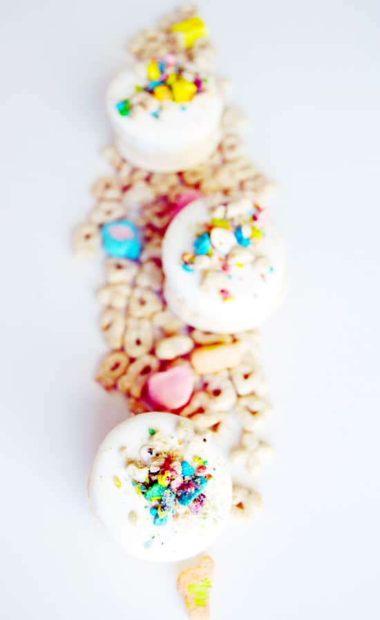 Cereal macarons with cereal milk frosting