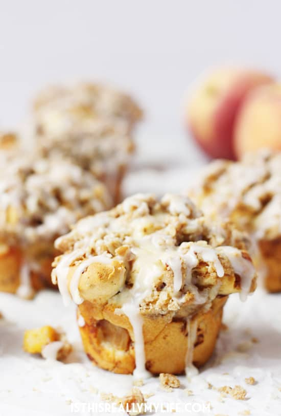 Peach Crisp Monkey Bread Muffins