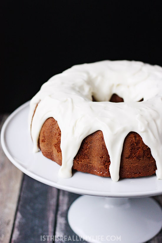 Sour Cream Carrot Bundt Cake with Cream Cheese Frosting - Sour cream carrot bundt cake is perfect for party guests. The combination of decadent carrot cake and homemade cream cheese frosting is irresistible! | halfscratched.com