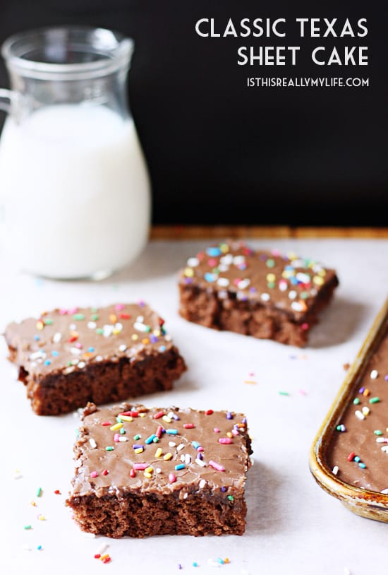 Texas Sheet Cake -- My family asks my mom to make this classic Texas sheet cake every time we have a family party. It is easy to make, easy to serve and way too easy to devour.   halfscratched.com