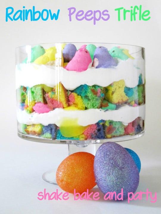 Rainbow Peeps trifle