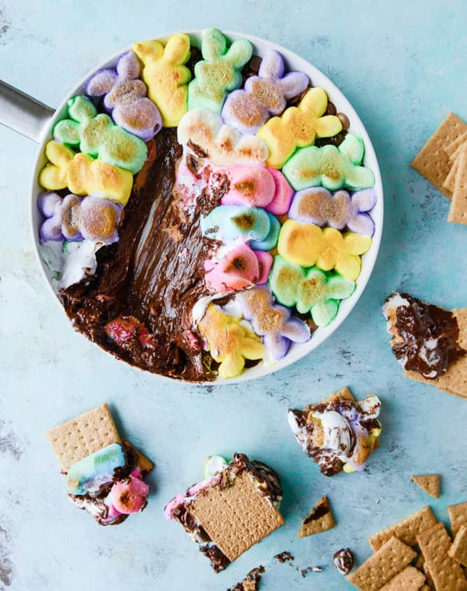 Chocolate peanut butter peeps skillet smores