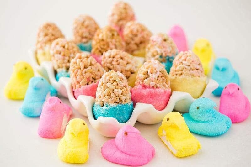 Easy Peeps rice krispie eggs