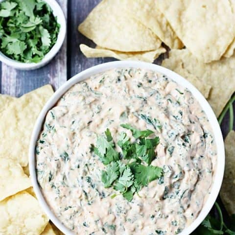 5-Minute Spinach Salsa Queso -- Need a last-minute Cinco de Mayo appetizer? Try this 5-minute spinach salsa queso dip. It is creamy, cheesy and totally addictive! | halfscratched.com