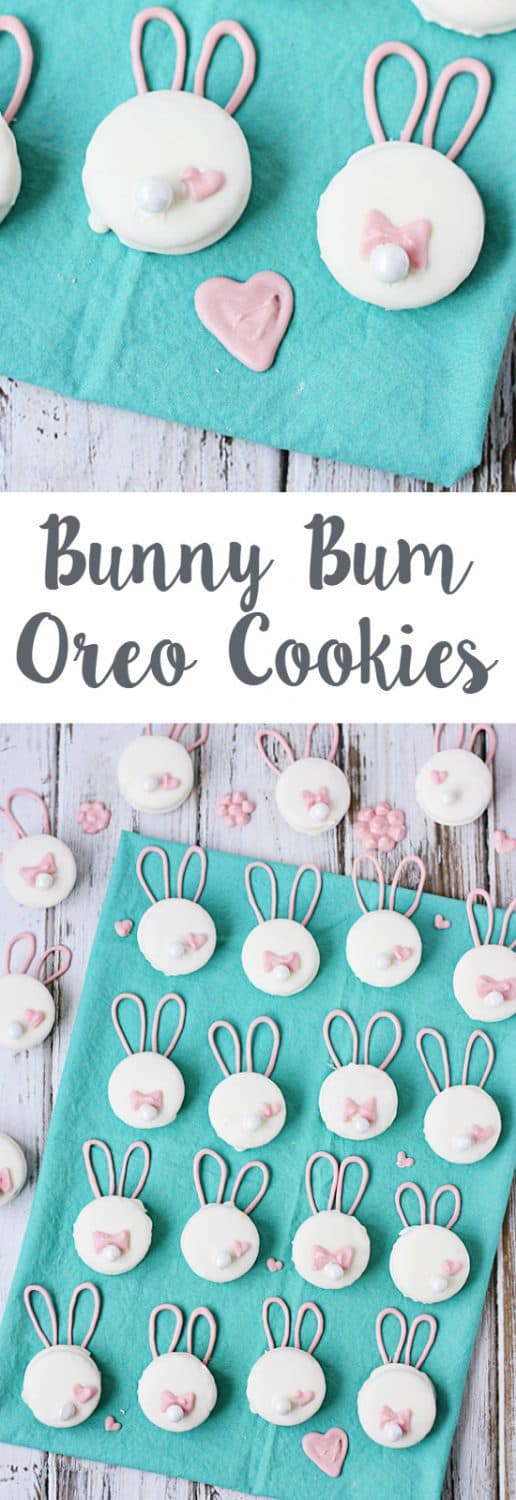 Bunny Bum Oreo Cookies -- These bunny bum Oreo cookies require only four ingredients and less than an hour to make. They are easy, fun and make a great last-minute Easter treat! | halfscratched.com