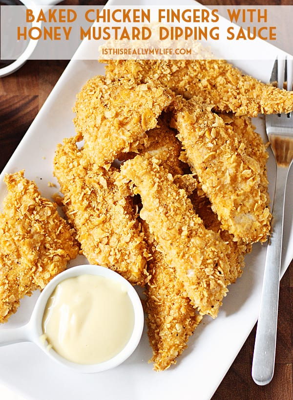 Baked Chicken Fingers - Corn flakes and spices are the secret to these healthy baked chicken fingers with homemade honey mustard. This recipe is totally kid tested and approved!   halfscratched.com