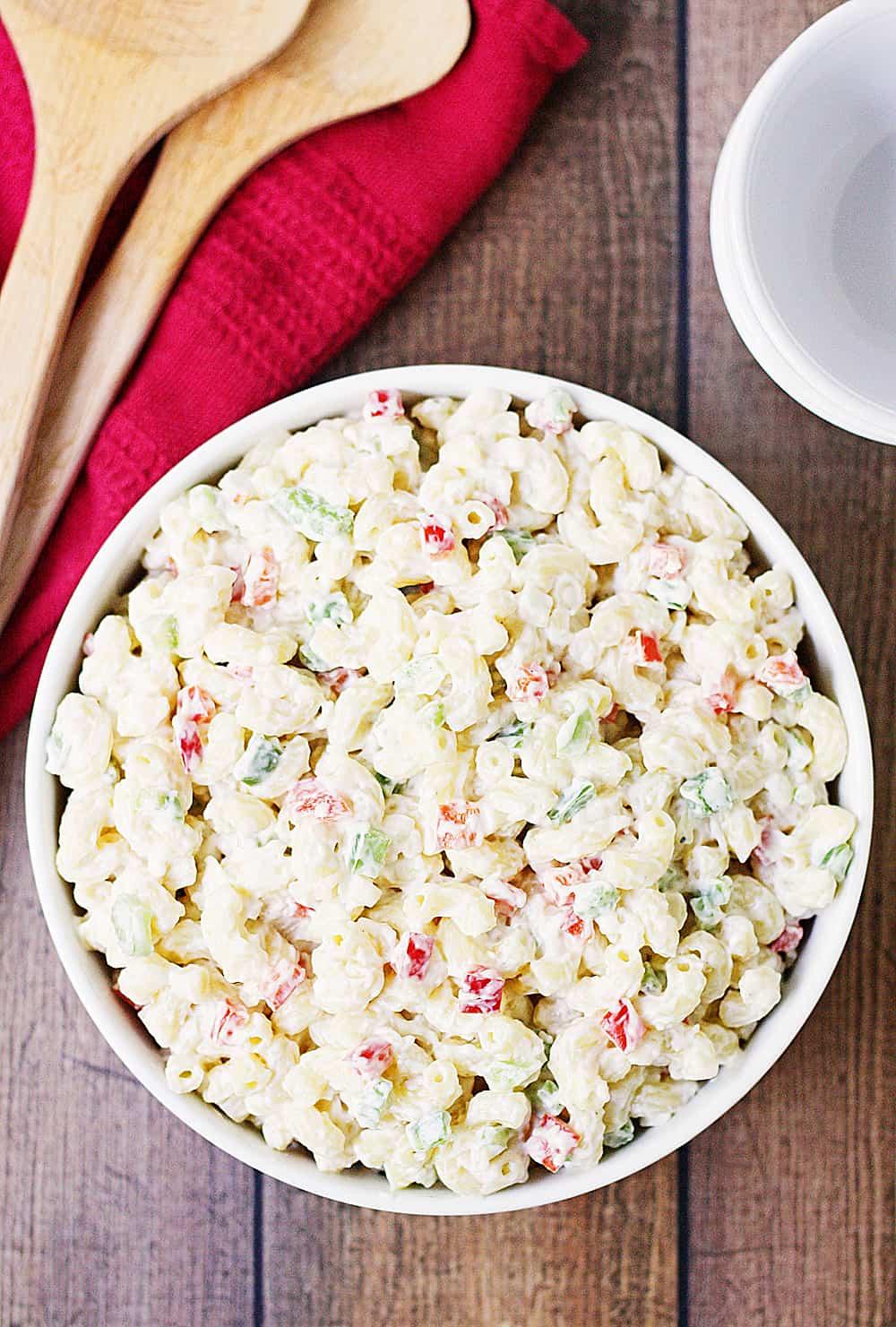 Best Ever Macaroni Salad top view.