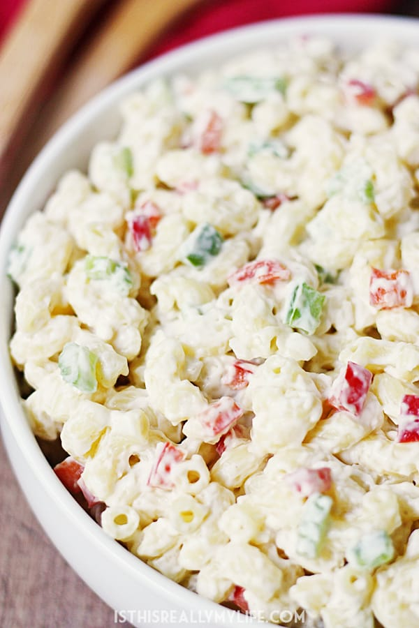 Best Ever Macaroni Salad -- Who knew macaroni salad could be incredibly easy AND incredibly delicious? This macaroni salad is just that with the perfect blend of veggies and creamy dressing. | halfscratched.com