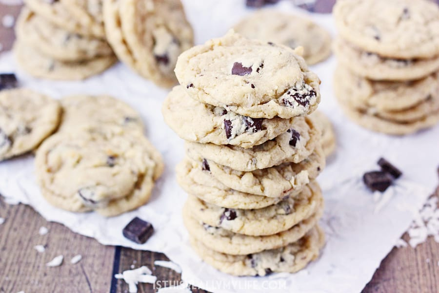 Coconut Chocolate Chunk Cookies - Coconut chocolate chunk cookies are a total crowd pleaser. They're soft, chewy and the perfect dessert for backyard barbecues or poolside picnics!   halfscratched.com
