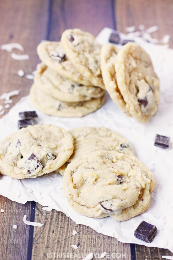 Coconut Chocolate Chunk Cookies - Coconut chocolate chunk cookies are a total crowd pleaser. They're soft, chewy and the perfect dessert for backyard barbecues or poolside picnics! | halfscratched.com