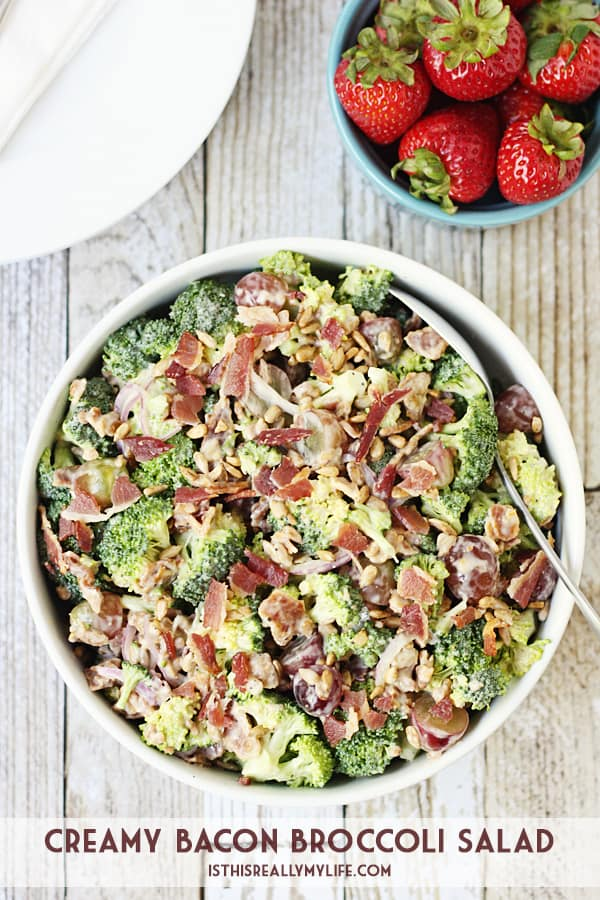 Creamy Bacon Broccoli Salad -- This creamy bacon broccoli salad is one of the best broccoli salads I've tasted. It features bacon, grapes, sunflower seeds and a creamy low-fat dressing. | halfscratched.com