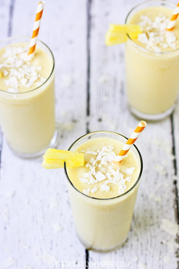 Pineapple Coconut Protein Smoothie - This pineapple coconut protein smoothie is perfect for those who love the heavenly combination of pineapple and coconut and want a healthy way to drink it! | halfscratched.com