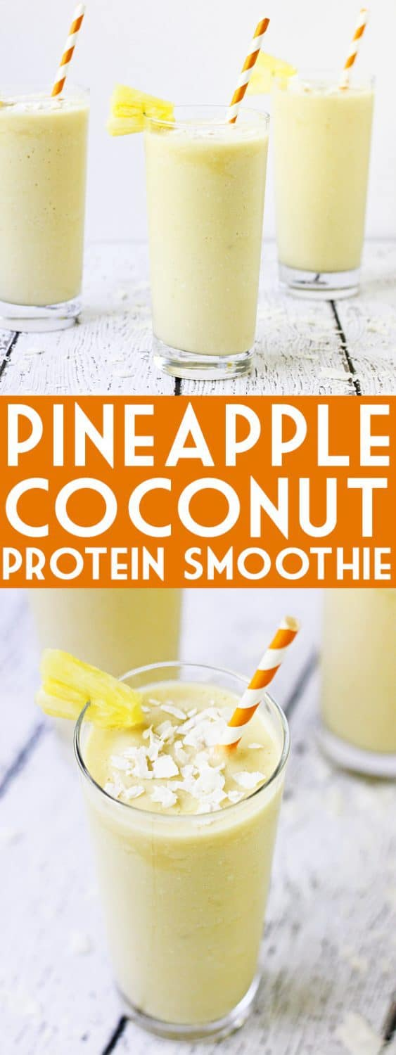 Pineapple Coconut Protein Smoothie - This pineapple coconut protein smoothie is perfect for those who love the heavenly combination of pineapple and coconut and want a healthy way to drink it! | halfscratched.com #smoothie #coconut #pineapple #protein #proteinsmoothie