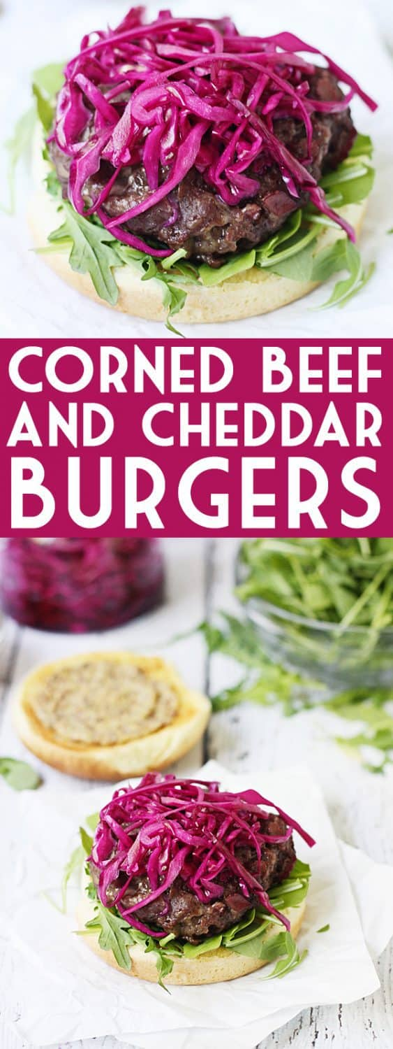 Irish Corned Beef & Cheddar Burgers -- Corned beef and cheddar burgers combine ground beef with corned beef and sharp white cheddar cheese for one of the tastiest burgers you will ever grill! #halfscratched #burger #hamburger #cornedbeef #stpatricks