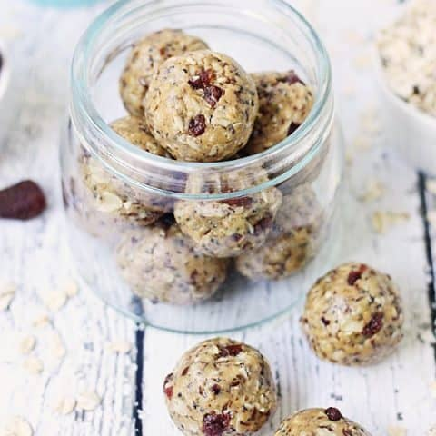 Easy PB&J Protein Balls -- PB&J protein balls are perfect for PB&J lovers looking for a healthy, protein-packed snack thanks to creamy peanut butter and diced dried strawberries.   halfscratched.com