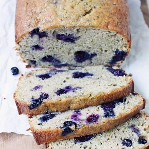 Blueberry Zucchini Bread -- Baking a batch of blueberry zucchini bread is one of the best ways to use all that fresh garden zucchini and sweet, summer-ripened blueberries.   halfscratched.com