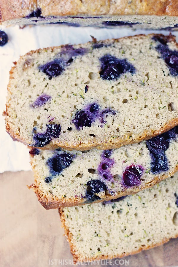 Blueberry Zucchini Bread Half Scratched