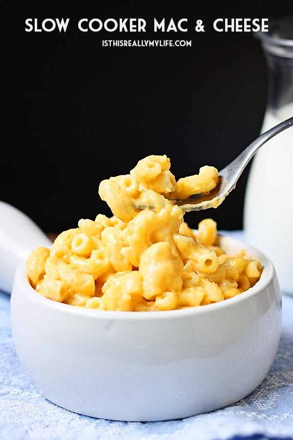 Slow Cooker Mac and Cheese -- This slow cooker mac and cheese will please the pickiest eaters thanks to a combo of sharp cheddar and Colby Jack cheese plus a few surprise ingredients. | halfscratched.com