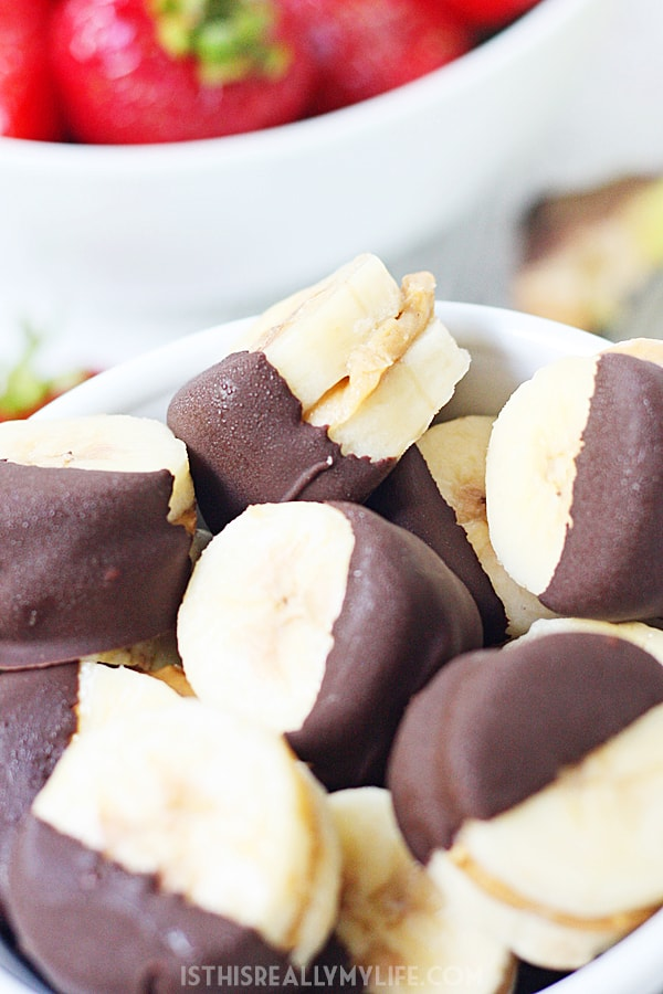 Dark chocolate-dipped frozen banana bites are easy to make, healthy and delicious making them a perfect after-school snack. | halfscratched.com