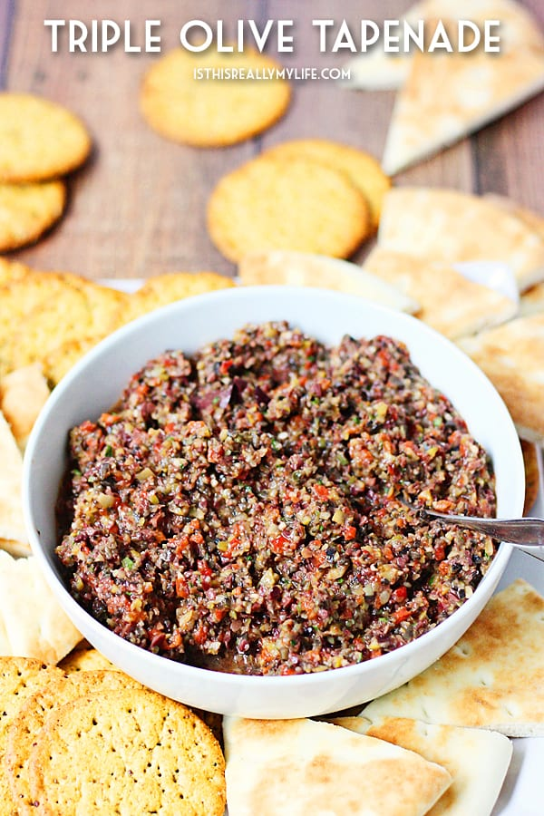 Triple Olive Tapenade -- This triple olive tapenade features Kalamata, green & California olives. Freshly roasted red bell pepper, garlic & Italian herbs makes it extra addictive! | halfscratched.com