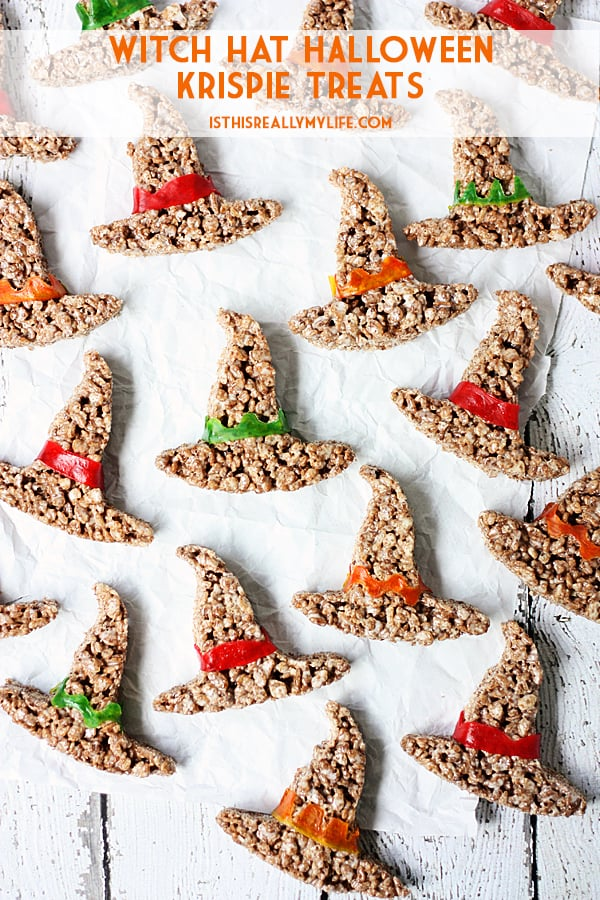 Witch Hat Halloween Krispie Treats -- Witch hat Halloween krispie treats are always a hit at Halloween parties. These spooktacular Halloween treats require only 4 ingredients + a cookie cutter! | halfscratched.com