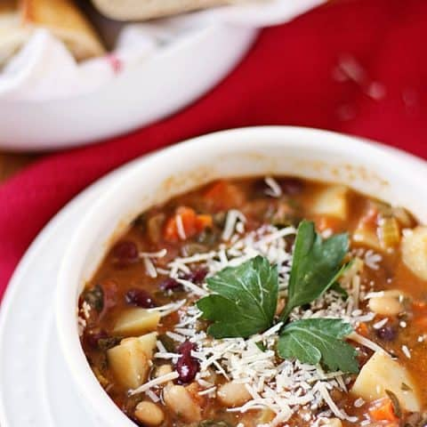 Homemade Minestrone Soup -- This homemade minestrone soup is chock full of flavor thanks to lots of fresh vegetables, herbs and coarsely chopped pancetta.   halfscratched.com #recipe #soup