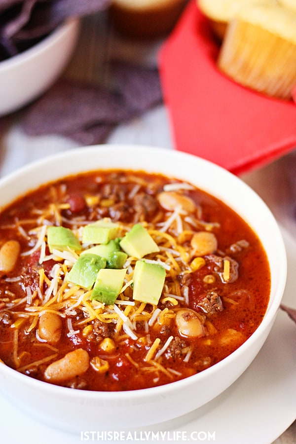 Slow Cooker Sweet Tortilla Soup -- Slow cooker sweet tortilla soup is slightly sweet, super family friendly and a cinch to make. That must be why it is extra delicious!   halfscratched.com