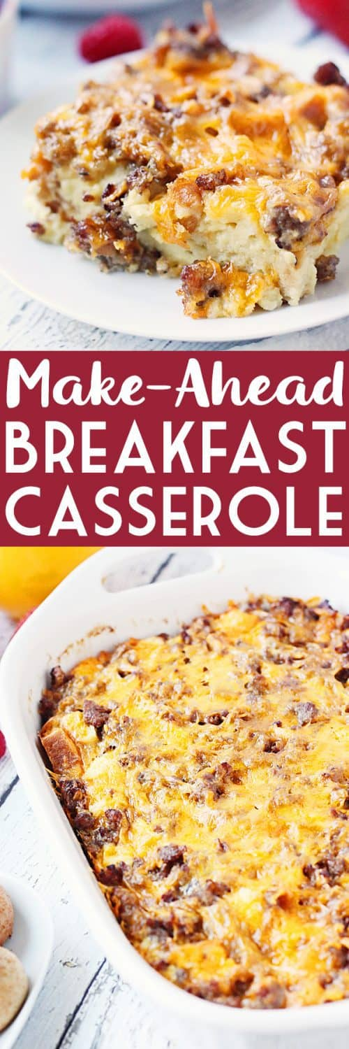 Make-Ahead Breakfast Casserole - Pair this easy make-ahead breakfast casserole with some tasty sides like fresh fruit and bite-size pumpkin bagels for the perfect holiday brunch! #breakfast #casserole #eggs #holidaybaking #holidayrecipe #cheese #halfscratched #easyrecipe #sausage #breakfastcasserole