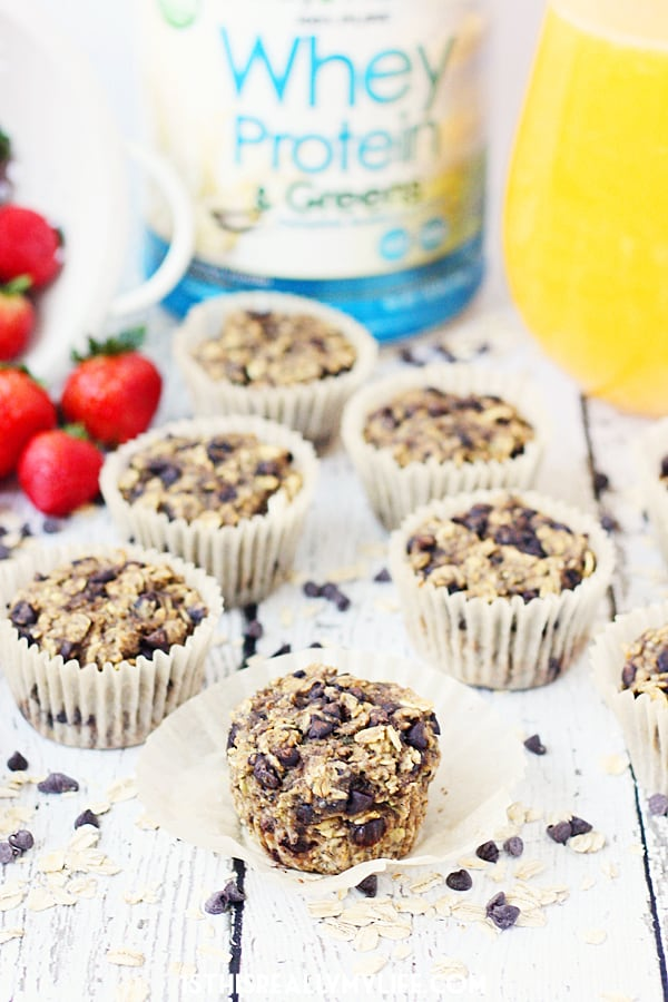 Oatmeal Chocolate Chip Protein Muffins -- Oatmeal chocolate chip protein muffins are so yummy, it's hard to believe they're good for you. Bake them and then freeze them for a healthy meal on the go! | halfscratched.com
