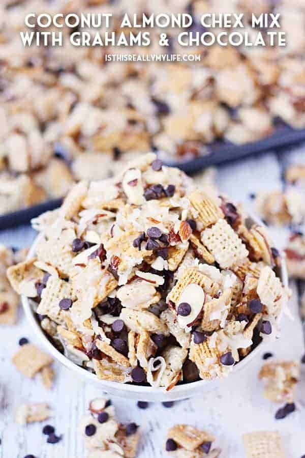 Coconut Almond Chex Mix with Grahams and Chocolate -- Coconut almond Chex mix becomes twice as irresistible after adding Golden Grahams and mini semisweet chocolate chips to the classic recipe. | halfscratched.com #recipe #chexmix