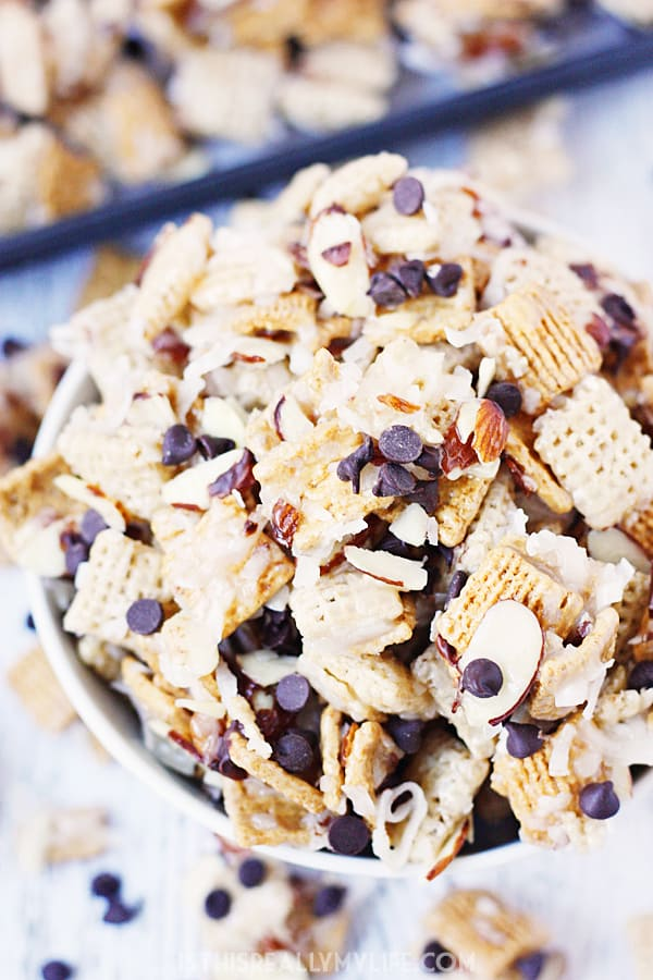 Coconut Almond Chex Mix with Grahams & Chocolate | Half ...