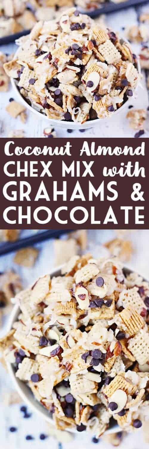 Coconut Almond Chex Mix with Grahams and Chocolate -- Coconut almond Chex mix becomes twice as irresistible after adding Golden Grahams and mini semisweet chocolate chips to the classic recipe. | halfscratched.com #recipe #chexmix #dessert #baking #chocolate #coconut