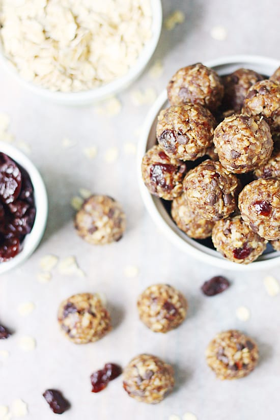 Cherry chocolate chip protein bites