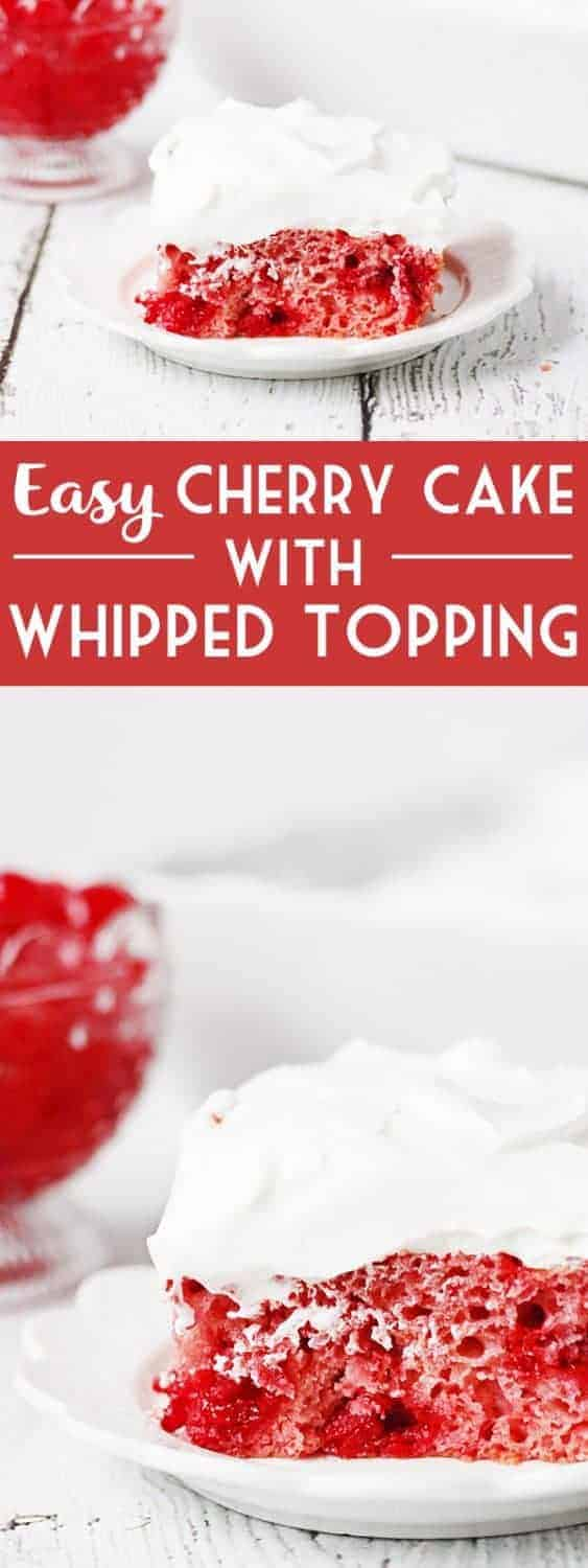 Easy Cherry Cake with Whipped Topping -- This easy cherry cake with whipped topping is unbelievably delicious and requires only a white cake mix, cherry pie filling, and three other ingredients. The whipped topping frosting is a fabulous finishing touch! | halfscratched.com #cakemix #cherrycake #cherry #recipe #cake #valentinesday