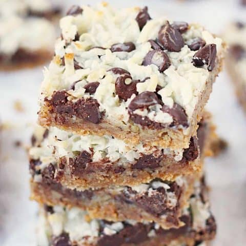 One-Pan Hello Dolly Bars -- This recipe for Hello Dolly bars calls for six simple ingredients, one pan and about 10 minutes to prep. The result is a bar cookie that is soft, chewy and highly addictive!   halfscratched.com #recipe #dessert