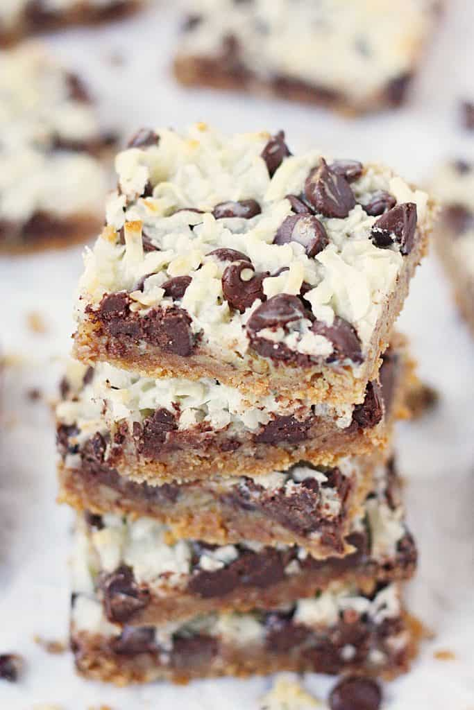 One-Pan Hello Dolly Bars -- This recipe for Hello Dolly bars calls for six simple ingredients, one pan and about 10 minutes to prep. The result is a bar cookie that is soft, chewy and highly addictive! | halfscratched.com #recipe #dessert