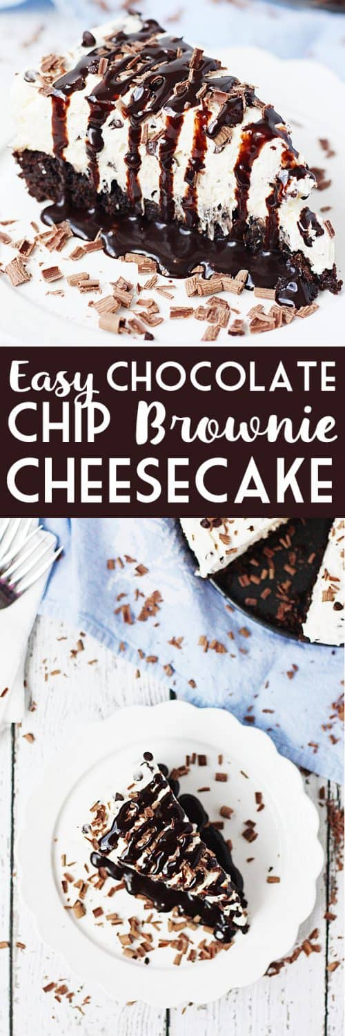 Easy Chocolate Chip Brownie Cheesecake -- Make this easy chocolate chip brownie cheesecake at your next party and you'll be the favorite. Brownie mix plus a simple cheesecake topping come together for a truly delightful dessert! #cheesecake #brownie #easyrecipe #halfscratched #sweet #baking #springformpan #dessert #sweet