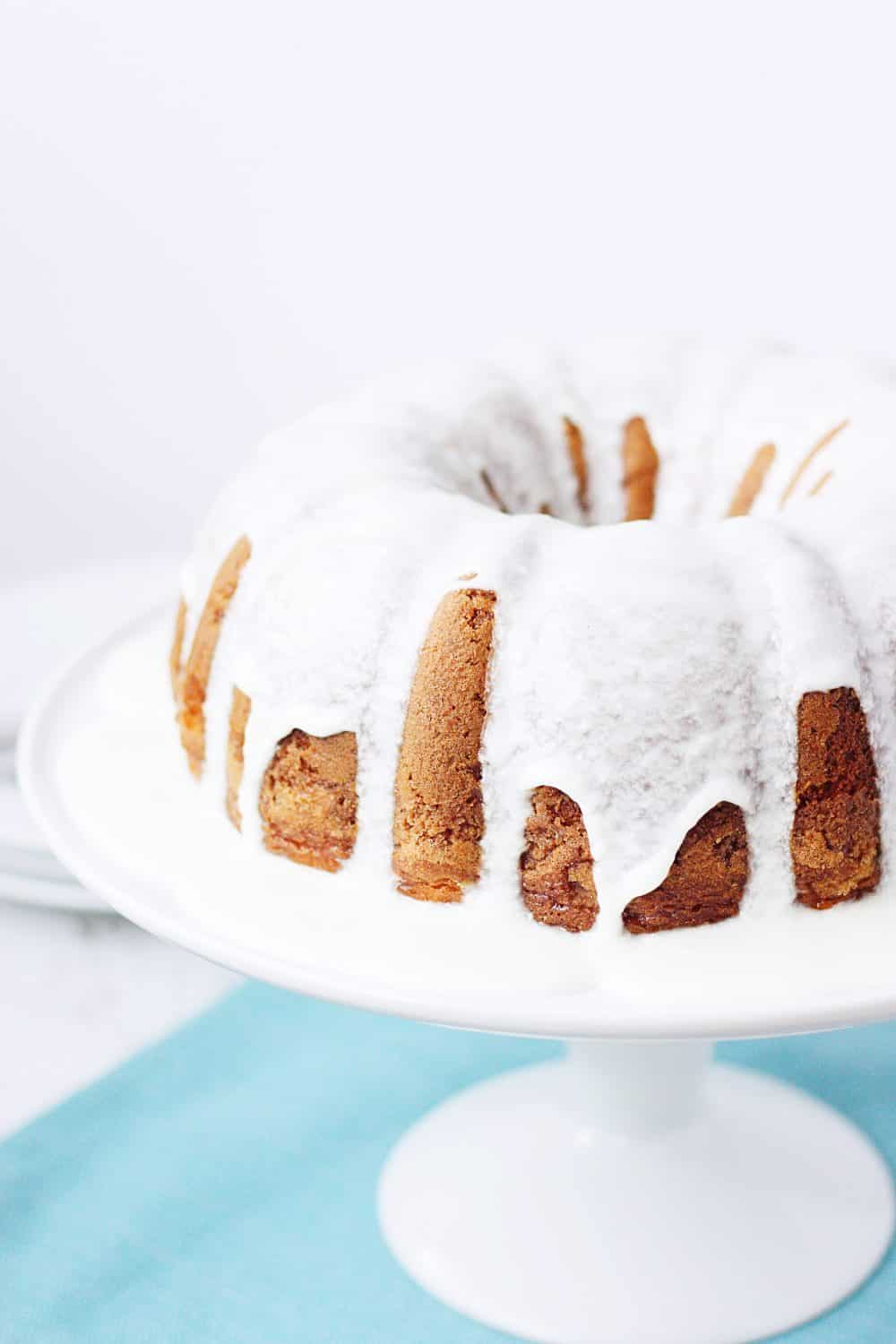 Cake mix coffee cake bundt cake with vanilla glaze